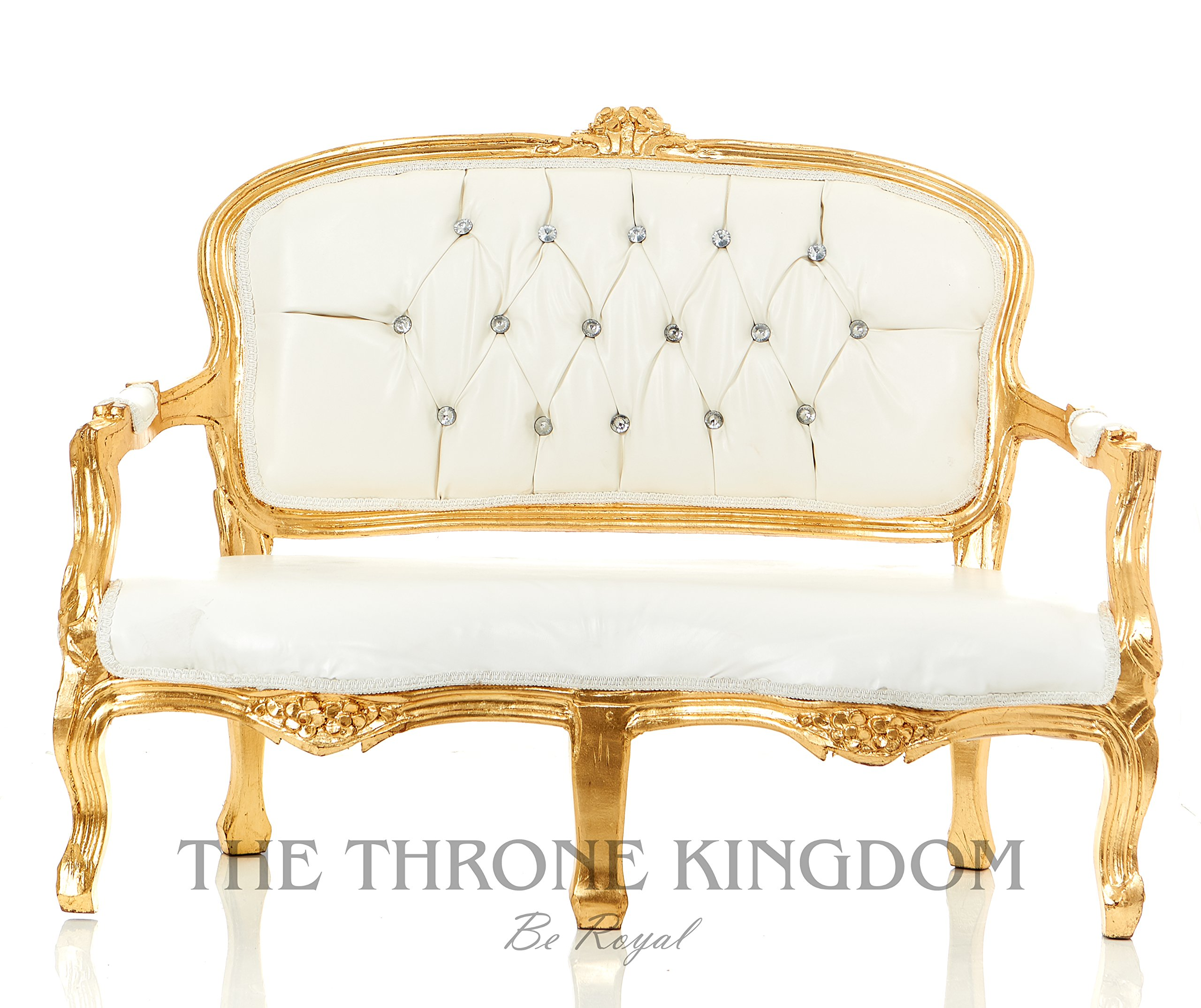 Mini Baby Victoria Love Seat/ Party Bench For Kids or Pets Photo Props White with Gold Leaf by Throne Kingdom