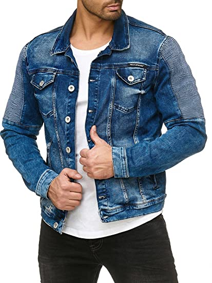4b36391abea Red Bridge Mens Jeans Jacket Biker Style Blue Denim Spring Autumn Stretch  Jacket  Amazon.co.uk  Clothing