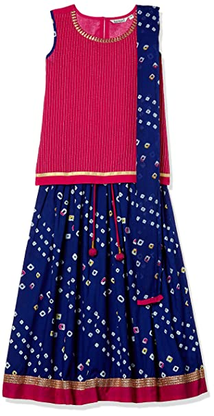 Karigari by Unlimited Girls' Straight Regular Fit Salwar Suit Girls' Salwar Suit Sets at amazon