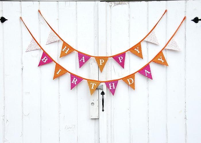 amazon com pink and orange happy birthday pennant banner handmade