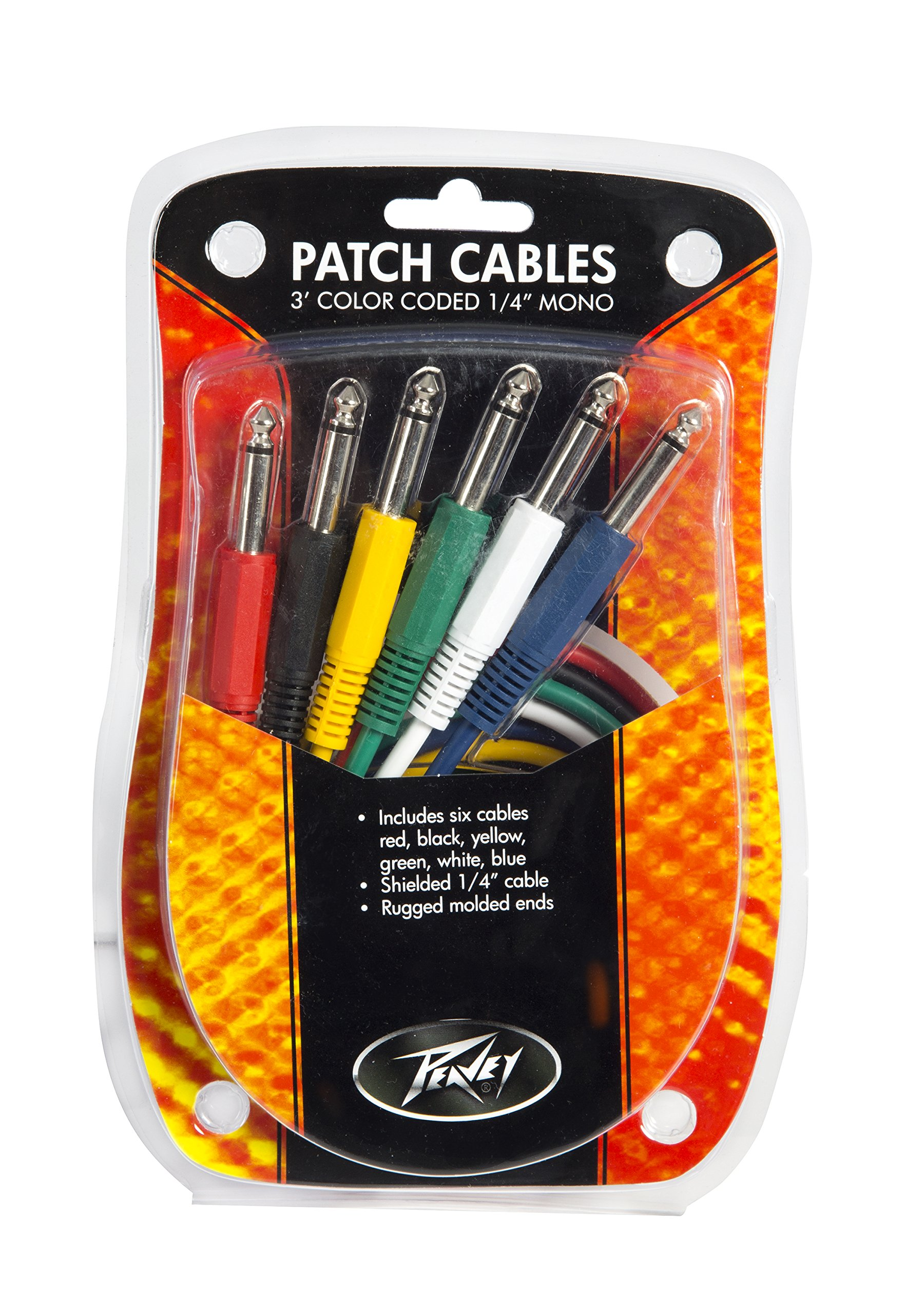 Peavey 3 Foot Colored 1/4 Inch Patch Cables, 6 Pack