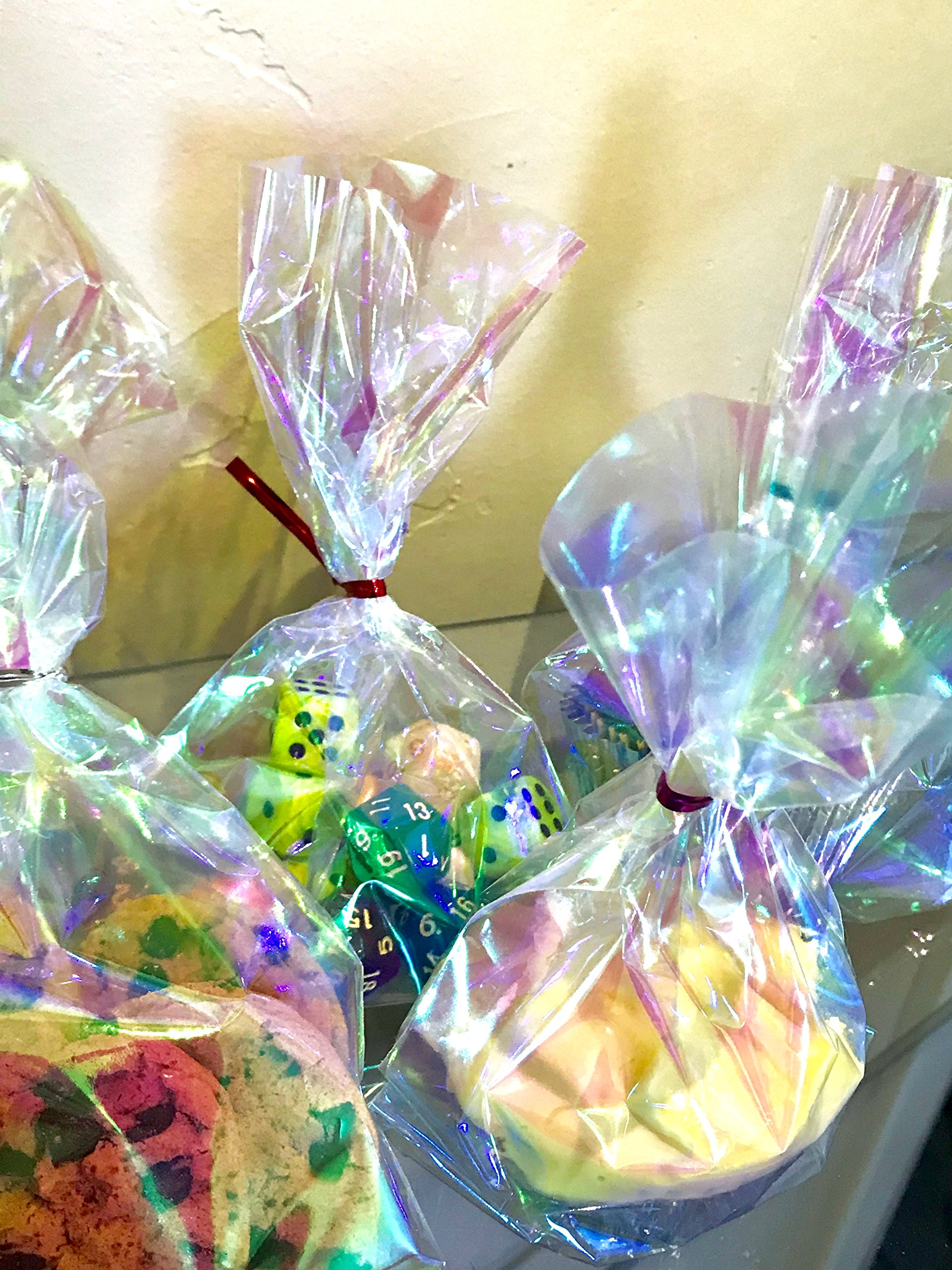 75 Iridescent Holographic Cellophane Party Favor Treat Bags 5x7.5'' with Twist Ties for Mermaid Fairy Princess Alice in Wonderland Mad Hatter Unicorn Birthday Party Supplies 5x7.5''