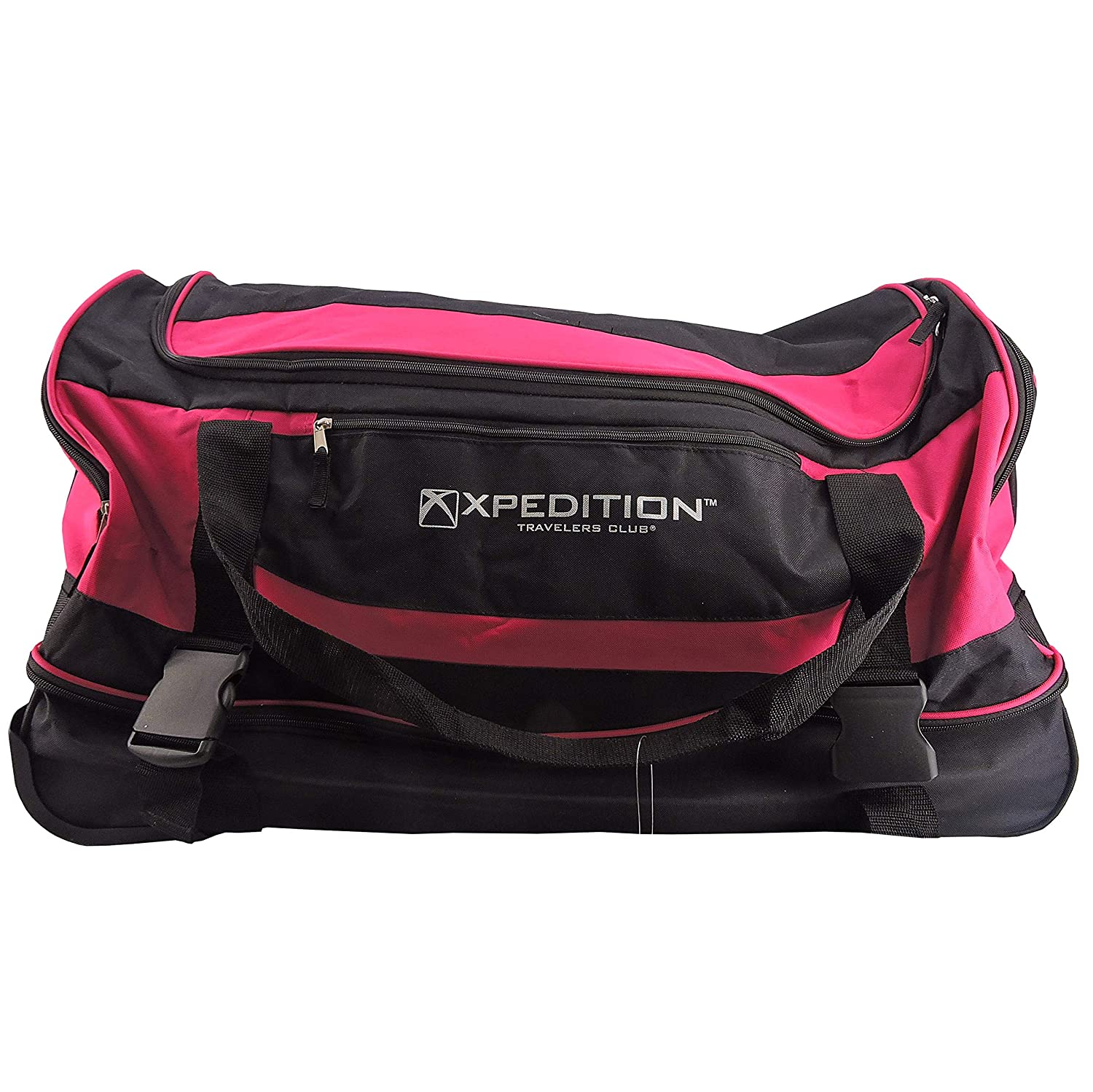 Xpedition Travelers Club 30IN Drop-bottom Rolling Duffel Bag Luggage Suitcase in Pink