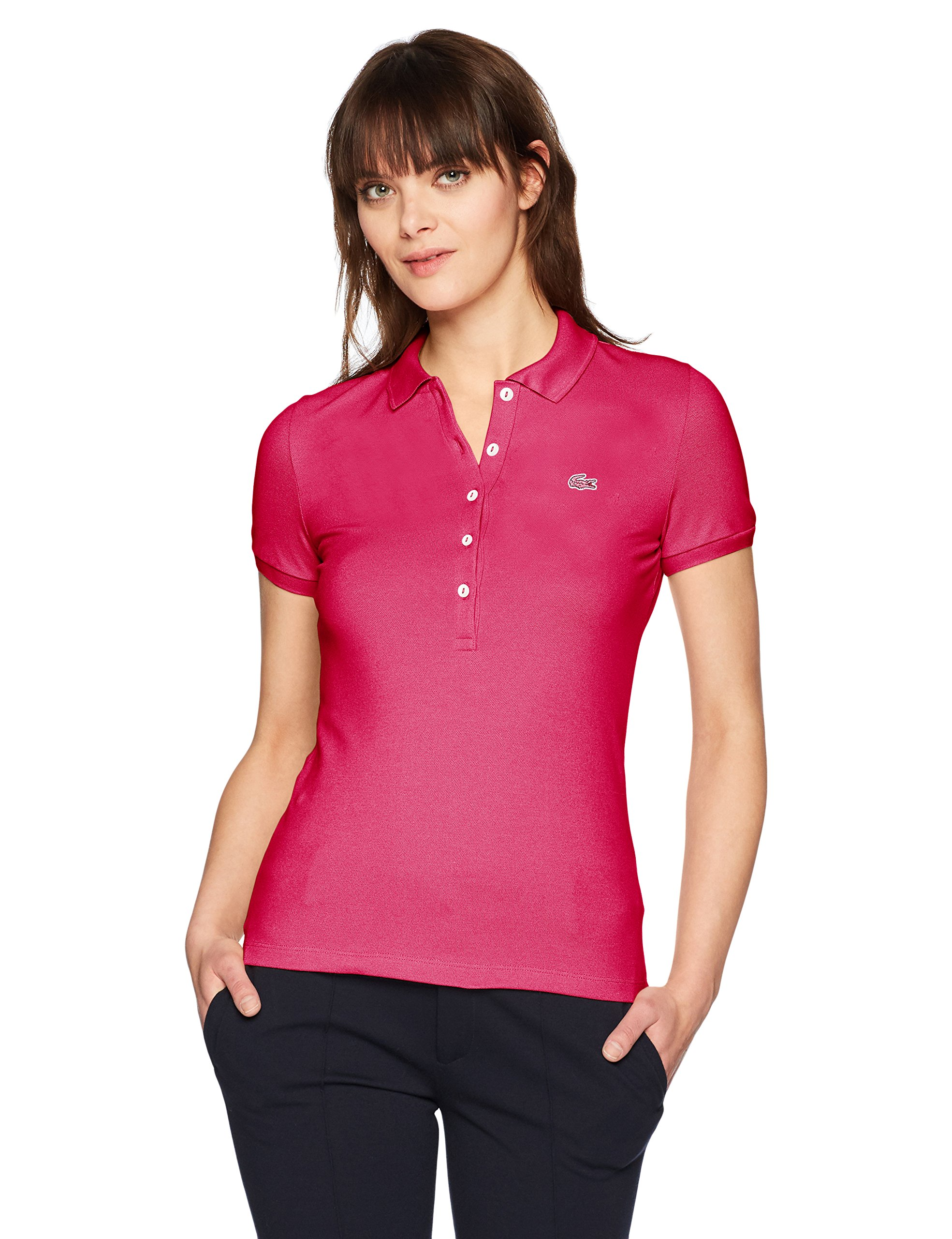 Lacoste Women's Classic Short Sleeve Slim Fit Stretch Pique Polo, PF7845, Stacy Chine 6