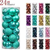 "KI Store 24ct Christmas Ball Ornaments Shatterproof Christmas Decorations Tree Balls Pastel for Holiday Wedding Party Decoration, Tree Ornaments Hooks included 2.36"" (60mm Teal)"