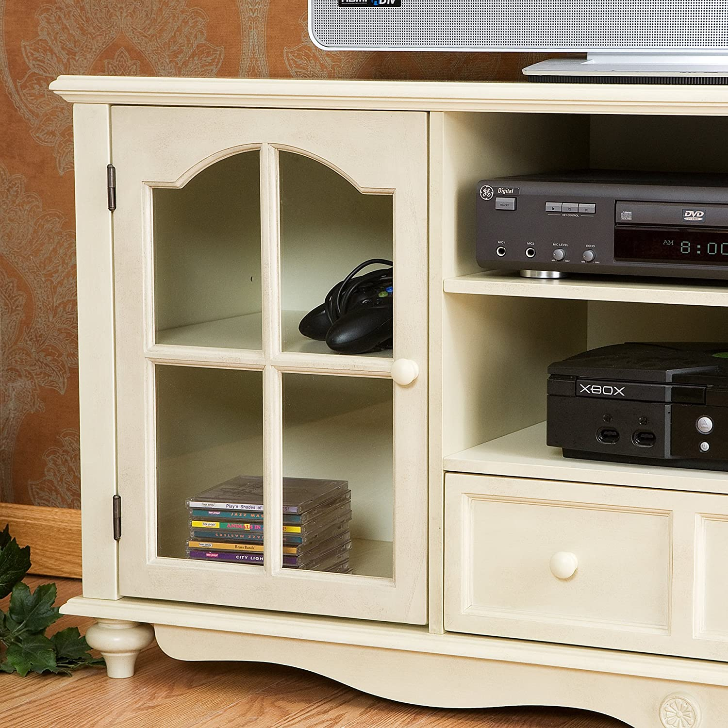 Design White Media Console amazon com coventry large tv console antique white kitchen dining