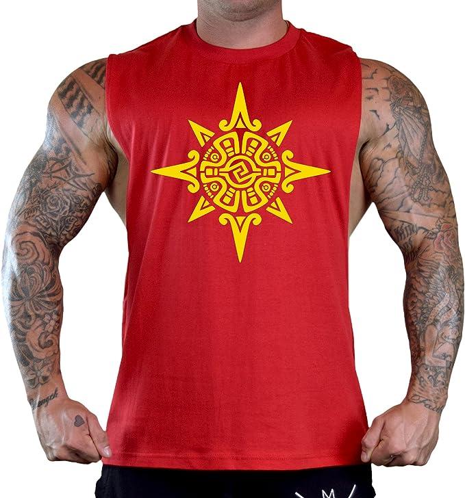Men/'s Red Ancient Aztec Sun Symbol Black T-Shirt Tank Top Gym Mexico Mayan V383