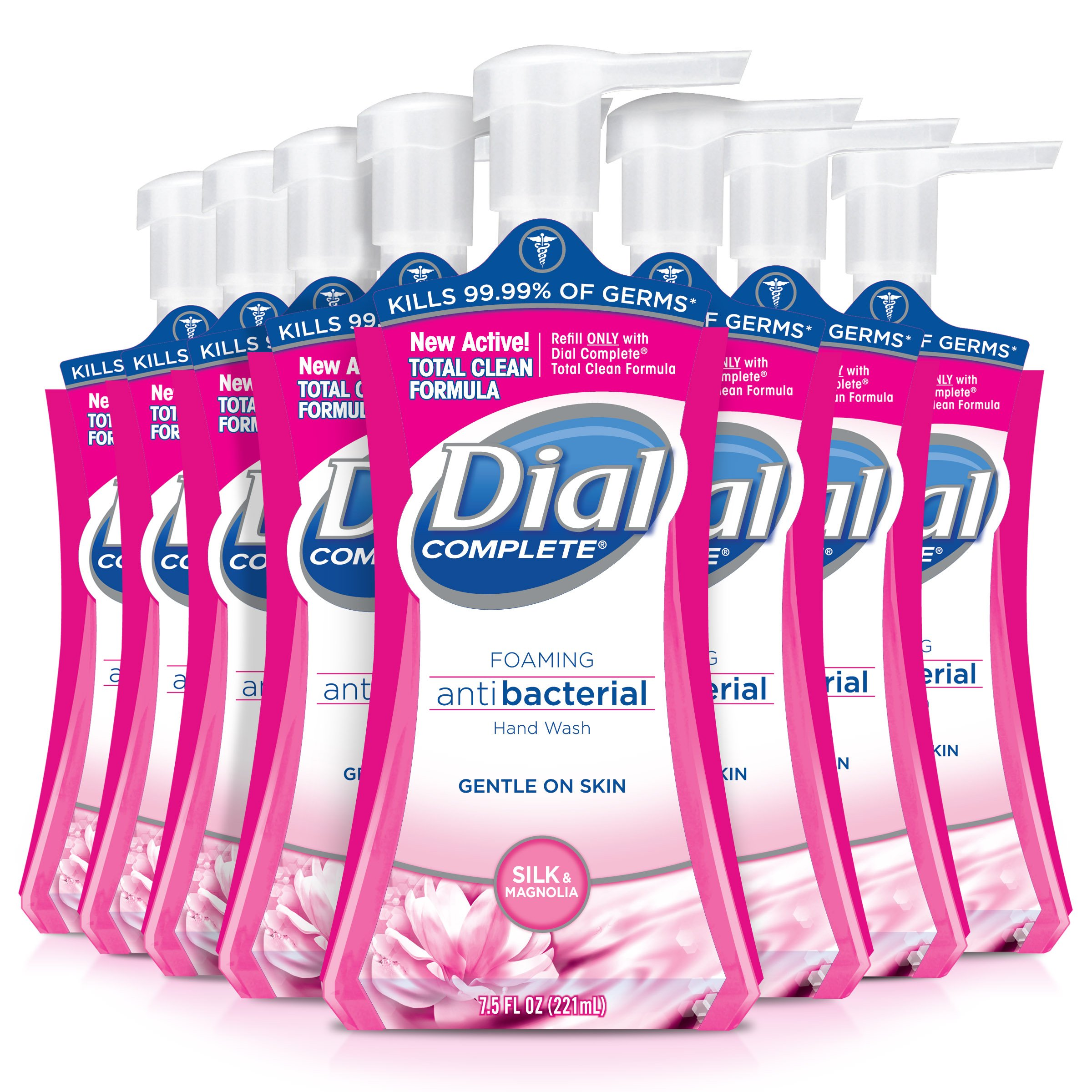 Dial Complete Antibacterial Foaming Hand Soap, Silk & Magnolia, 7.5 Fluid Ounces (Pack of 8)