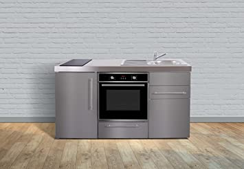 Miniküche mit backofen  Miniküche Premiumline MPBES 160 – Edelstahl – Kühlschrank – Backofen ...