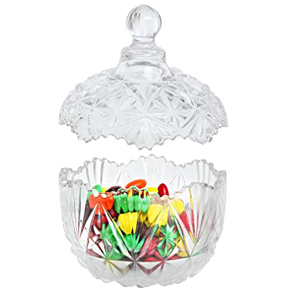 Brand-new Amazon.com | Multipurpose Antique Design Glass Candy Jar with Lids  DY96