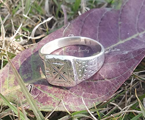 brushed silver rustic wedding ring handmade in England Square sterling silver matte  ring Jewelry alternative wedding band Hogart