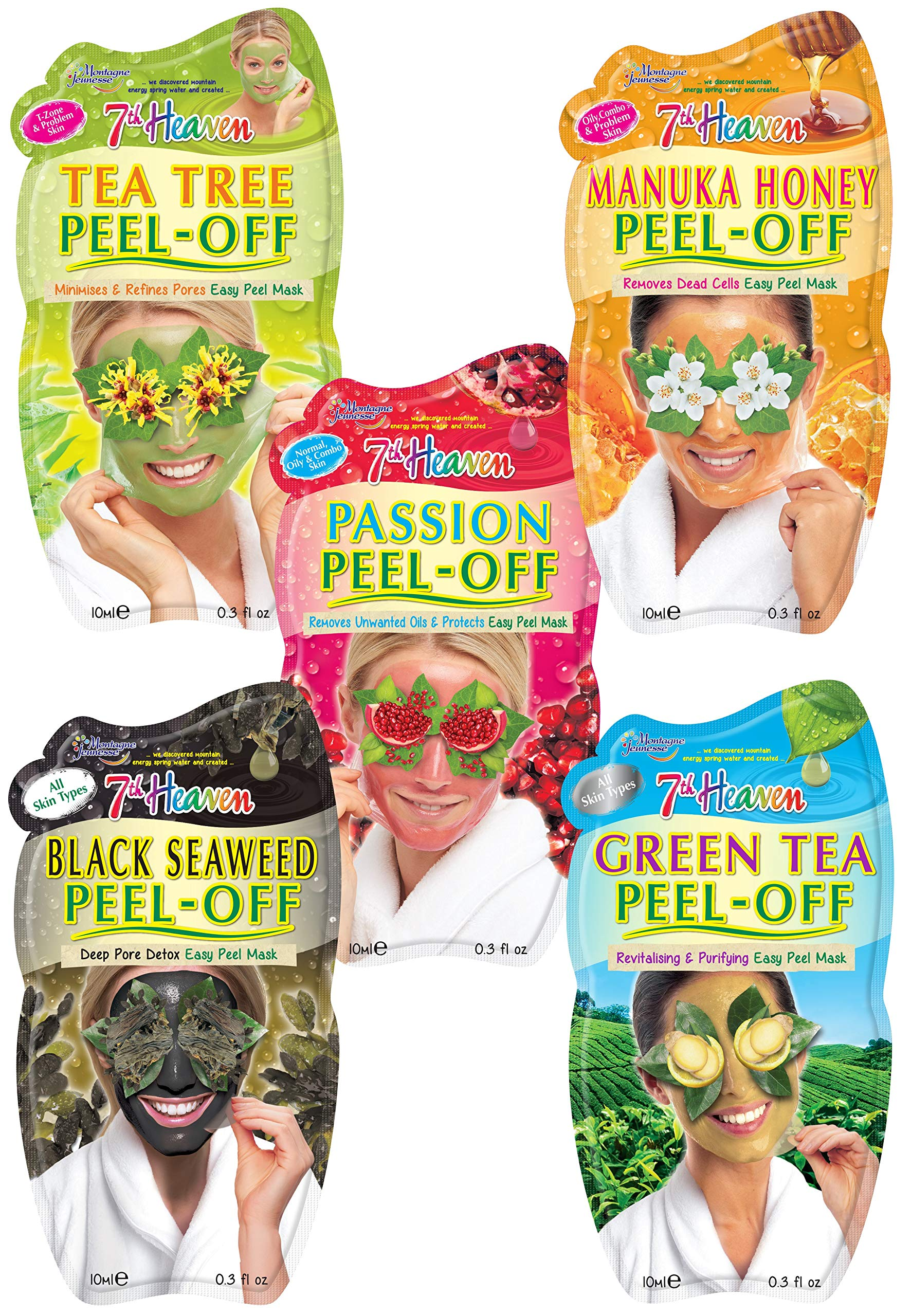 7th Heaven Pamper Peel Off Face Mask Pack with Tea Tree, Manuka Honey, Passionflower, Black Seaweed and Green Tea for All Skin Types