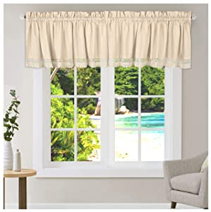2Pack- Flax cotton(12% Linen,88% Cotton) kitchen curtain valance with Lace- Natural Rustic color measuring 16x72,can be used many ways like Valance for Windows,Valance curtains,Easy care Hand wash.