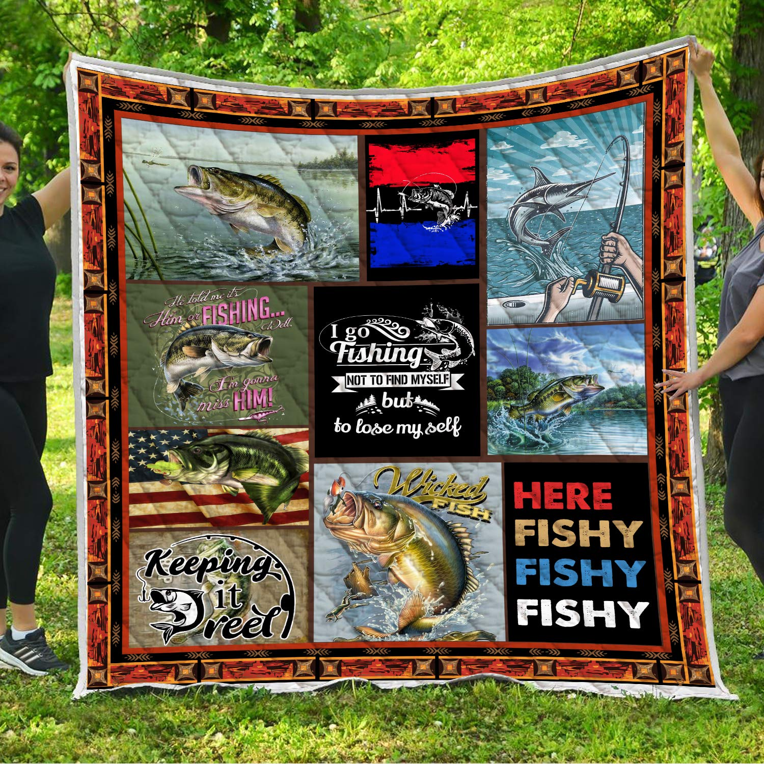 Fishing Quilt Pattern Blanket Comforters with Reversible Cotton King Queen Full Twin Size Birthday Christmas Quilted Gifts for Dad Daddy Grandpa Papa Grandfather Husband Son Daughter Kids Wife by VTH Global