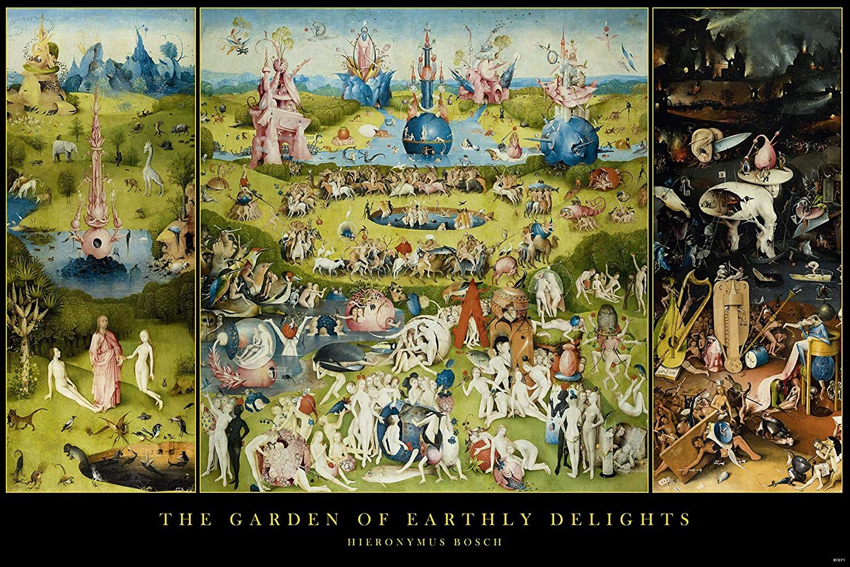 Close Up Póster Garden of Earthly Delights/El jardín de Las delicias Hieronymus Bosch (91,5cm x 61cm) + 2 Marcos Transparentes con suspención