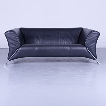 Rolf Benz 322 Designer Sofa Blau Leder Zweisitzer Couch Modern 4760