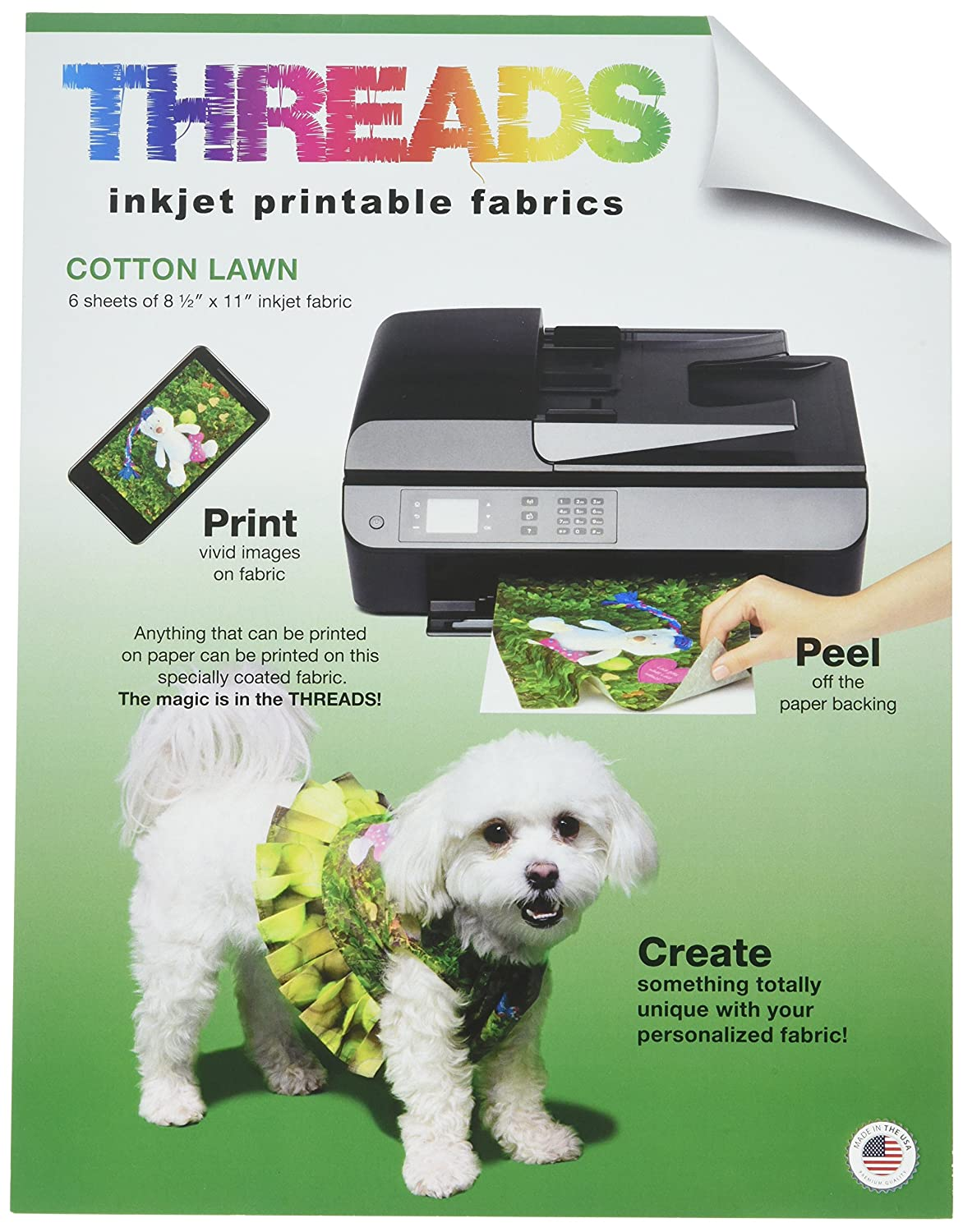 Threads TXIT100620 Inkjet Printable Fabric Sheets, 8.5