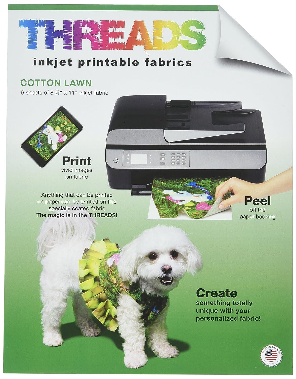 Threads TXIT100620 Inkjet Printable Fabric Sheets, 8.5x11 6/pkg 8.5x11 6/pkg