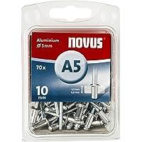 Novus Blindnieten Ø5 mm Aluminium, 70 Nieten, 10 mm Länge, zur Befestigung von Kunststoff, Stoffen und Leder