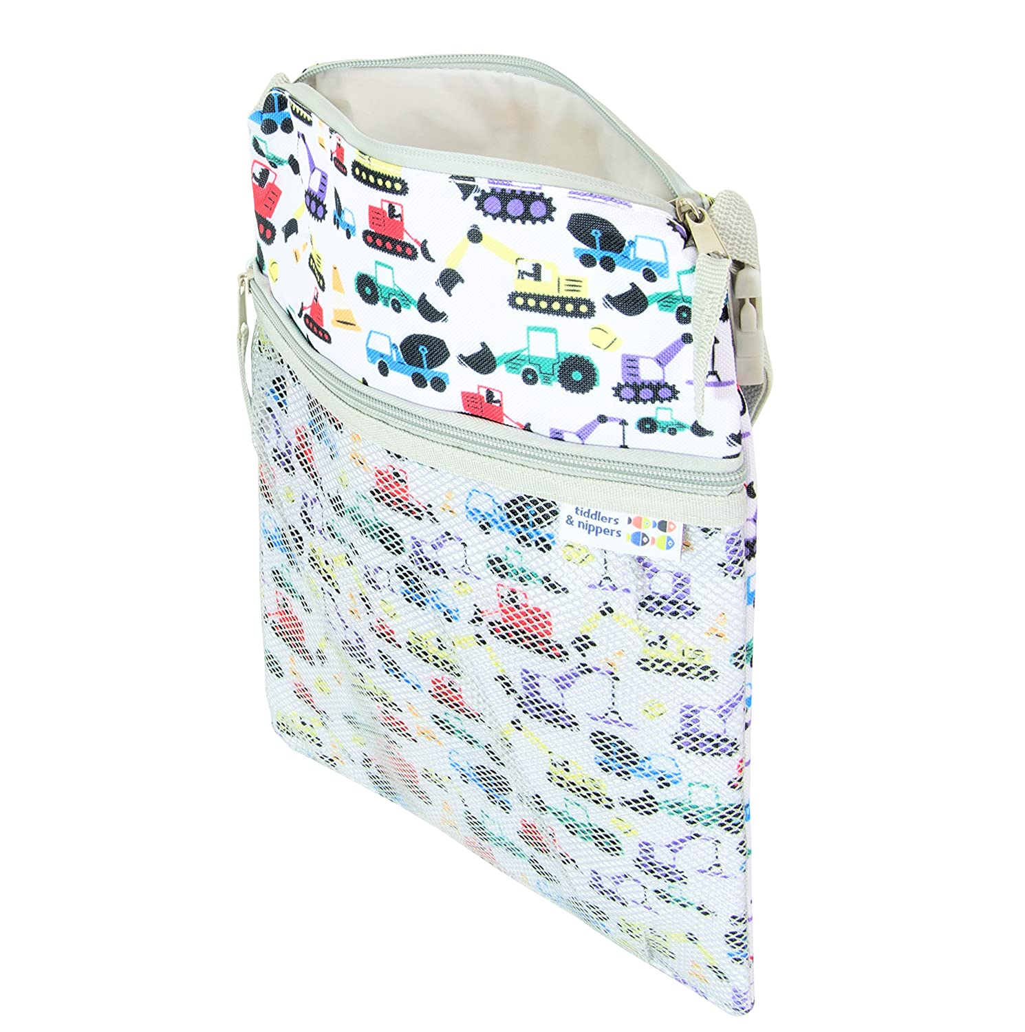 tiddlers & nippers | Wet/Dry Bag | Leak Proof Section for Wet Items/Nappies | External Pocket for Dry Items | Lightweight, Waterproof & Keeps Wet/Dry 100% Separate (Diggers Design)