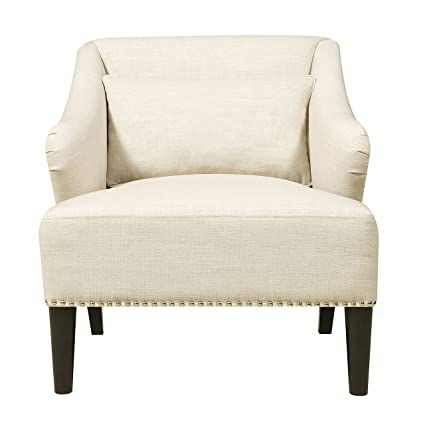 Pulaski Upholstered Accent Arm Chair With Nail Head U0026 Pillow, White Celine  Flour, Medium