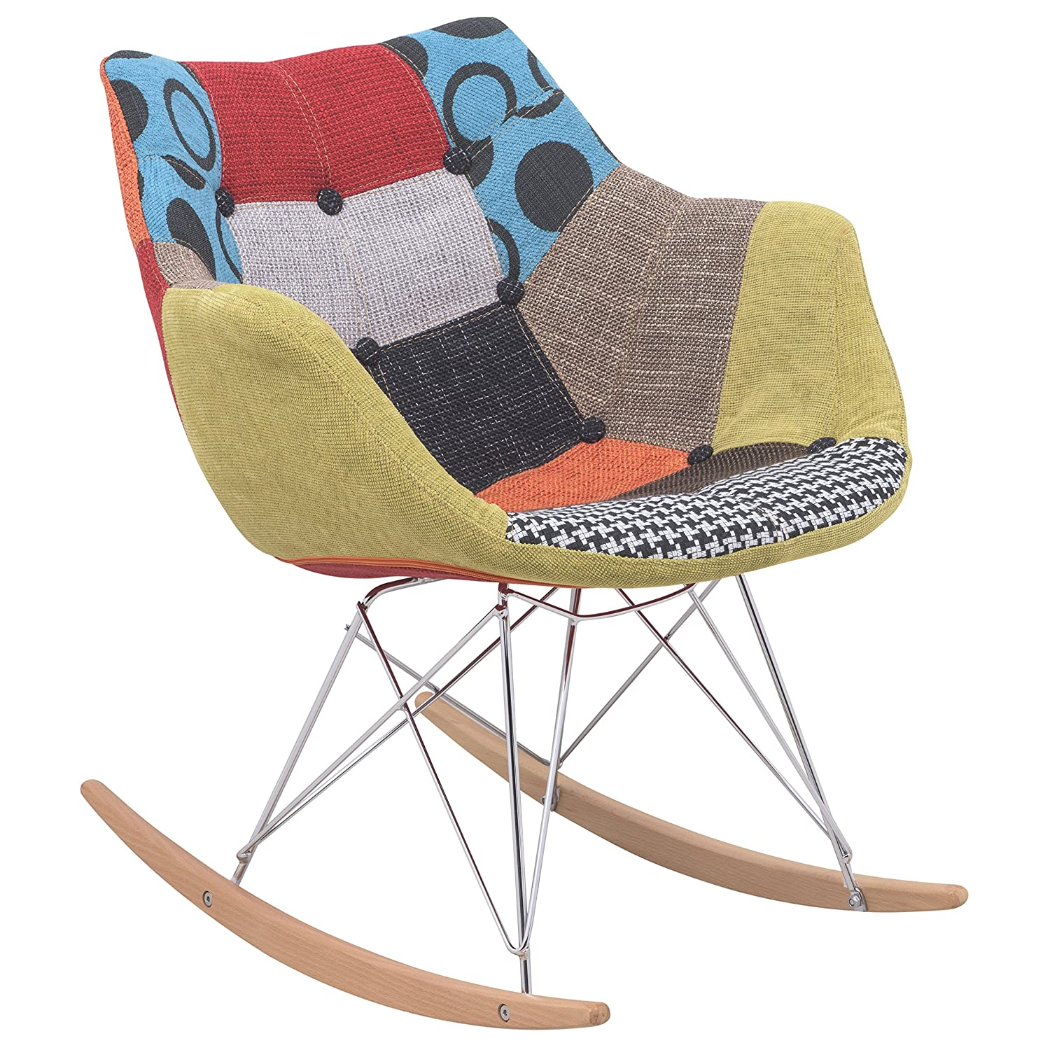 check out c2a2c 8cb99 LeisureMod Willow Patchwork Fabric Eiffel Rocking Chair, Multicolor