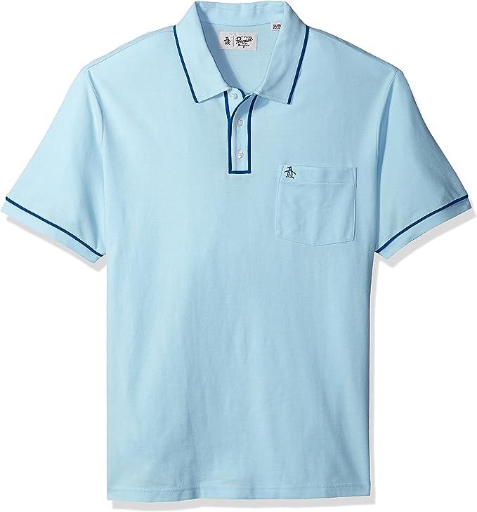 ORIGINAL PENGUIN Hombres Manga Corta Camisa Polo - Azul - XXX ...