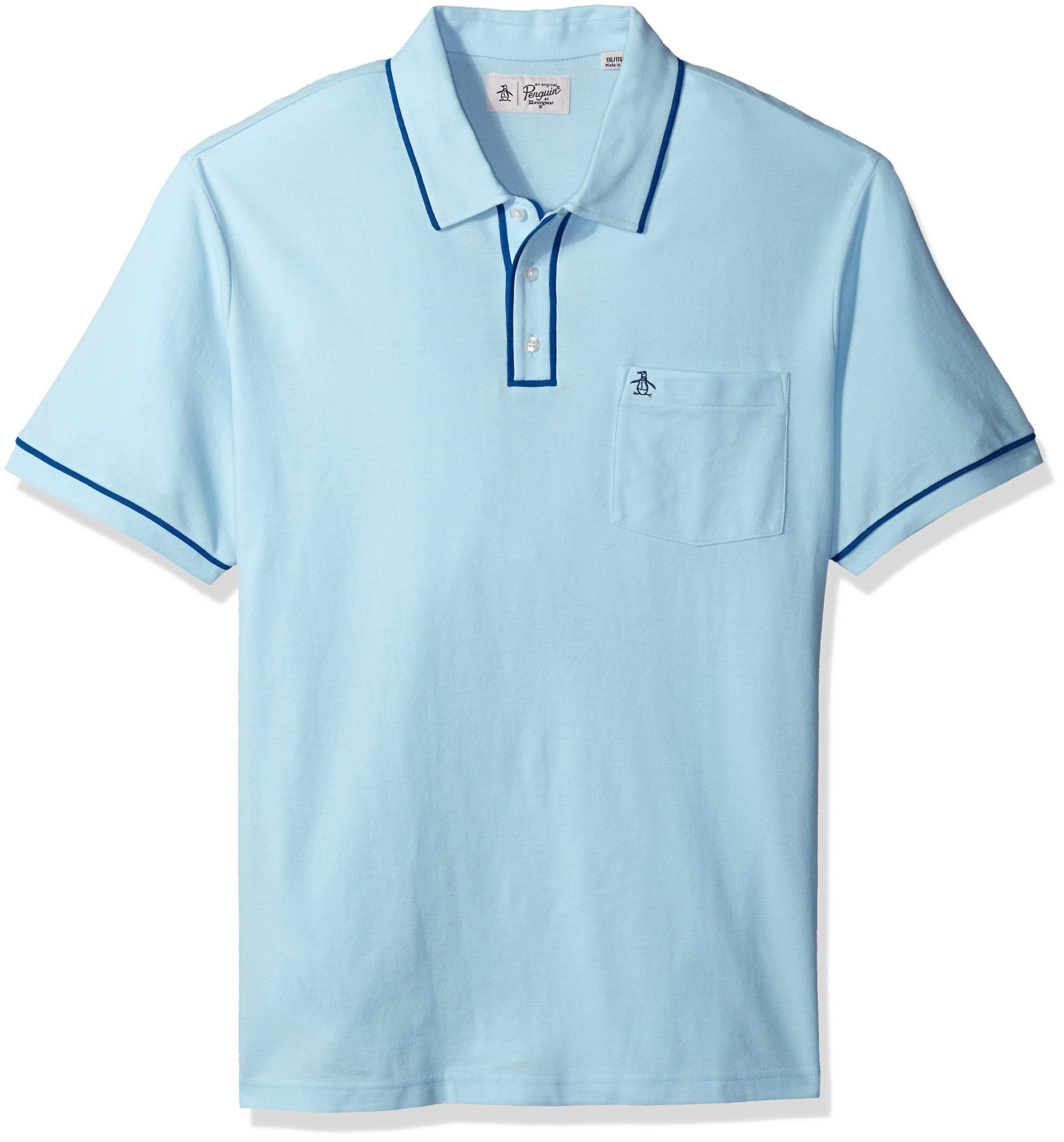 Original Penguin Men's Big Earl Pique Polo Shirt, Crystal Blue, 3 XL-Extra Large/Tall