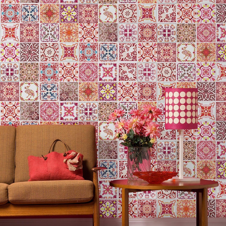WALPLUS ADESIVI DA PARETE RIMOVIBILE autoadesivo arte murale decalcomania vinile DECORAZIONE CASA fai-da-te VIVENTE cucina camera letto carta parati regalo marocchino rosso rosa MOSAICO PIASTRELLA