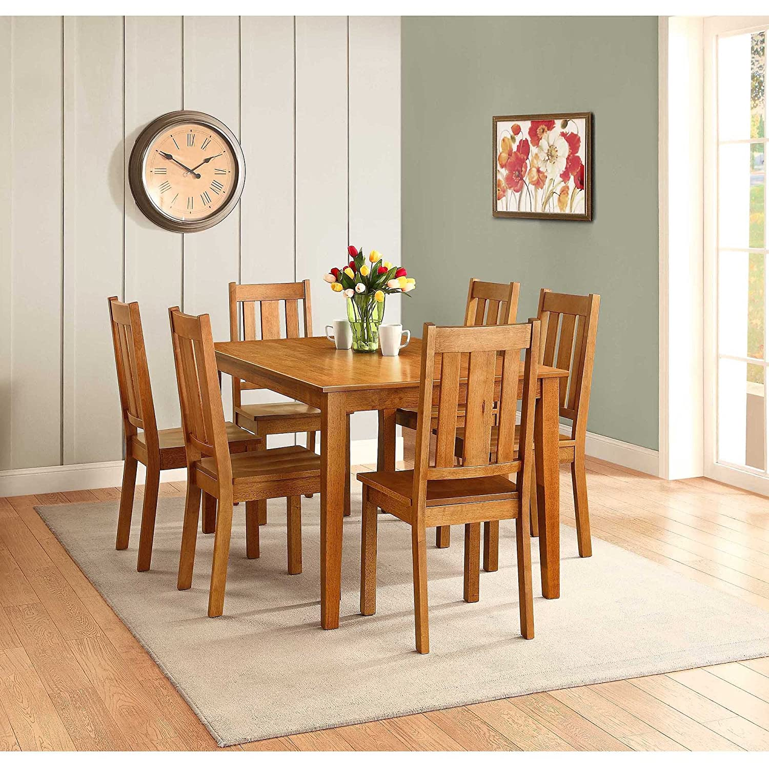KITCHEN TABLE and CHAIRS 7 PIECE Wood DINNING Set for 6 Honey Finish