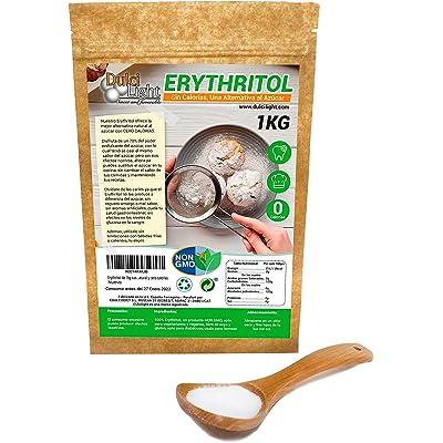 Eritritol 100% Natural Envase Ecologico 1Kg Edulcorante 0 Calorias   Ideal para Reposteria, y Dietas  Edulcorantes DULCILIGHT el sabor natural del azucar.