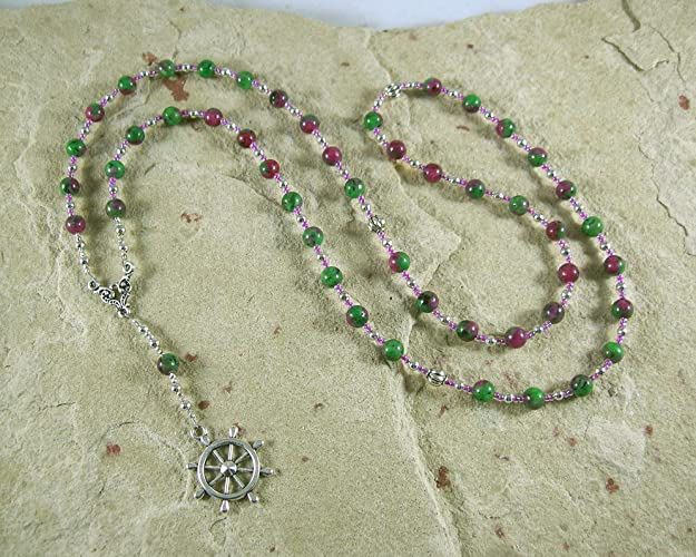 Amazon Tyche Fortune Prayer Bead Necklace In Ruby Zoisite