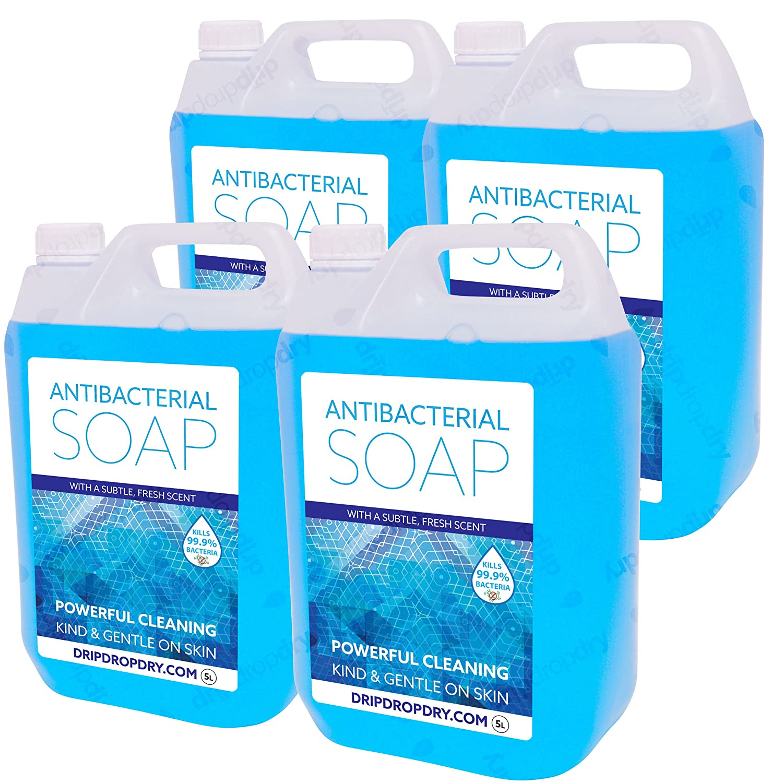 4 x Antibacterial Hand Soap   Kills 99.9% of bacteria   High Foam   For Bulk Fill Soap Dispensers DripDropDry