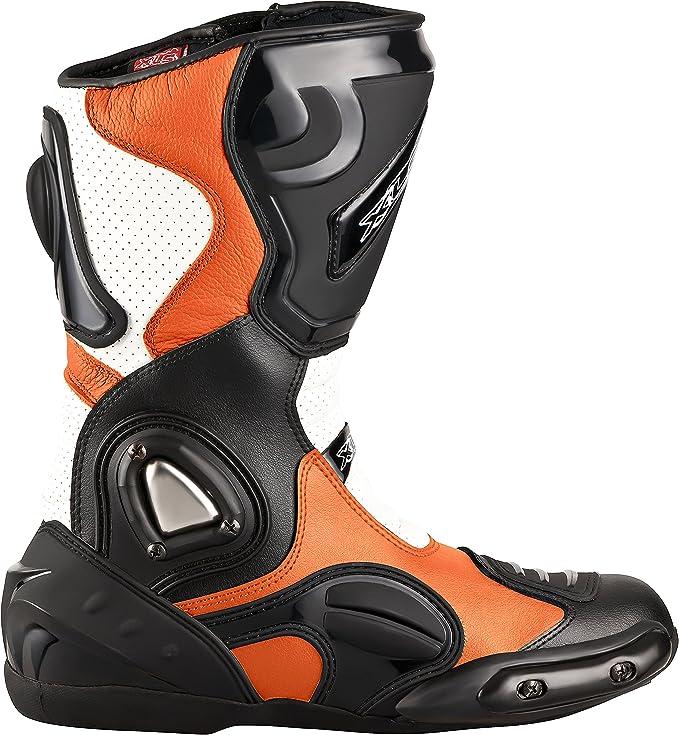 Xls Motorradstiefel Hochwertige Racing Boots Touringstiefel Lederstiefel Schwarz Orange 40 Auto