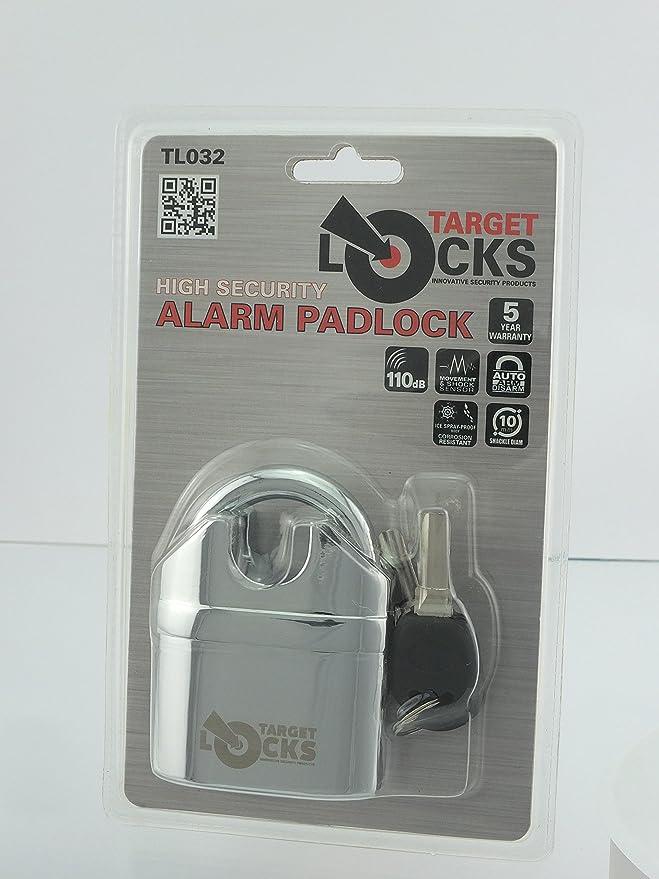 Candado de alta seguridad Target Alarmed, pesado, multifunción, con alarma de sirena