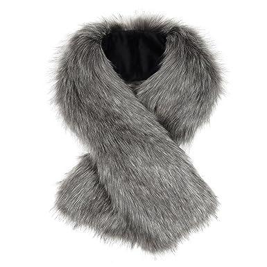 Écharpe de luxe en fourrure synthétique-Tippet Écharpe en Tissu Femme Gris 8555680518a