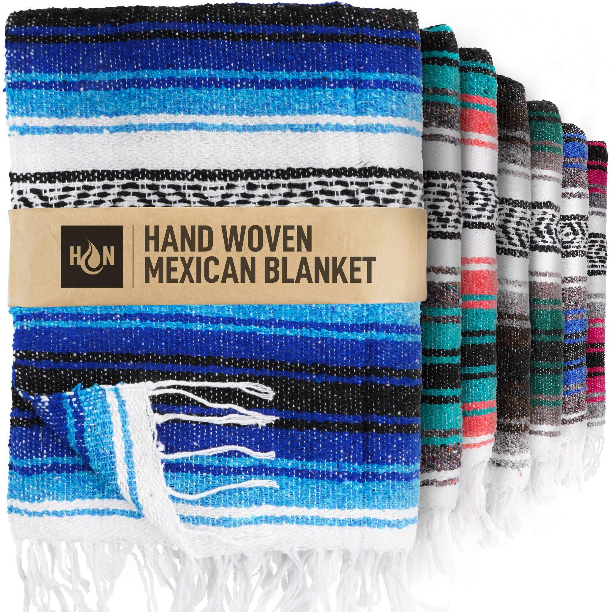 Handcrafted Large Mexican Blankets, Artisanal Handwoven Serape Blanket, Authentic Falsa Blanket, Beach Blanket, Camping Blanket, Picnic Blanket, Outdoor Blanket, Boho Throw Blankets, King Turquoise