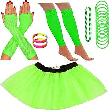 NUOVO Donna Neon Tutu gonna Nubilato 80S Costume Accessori Bracciali Giallo