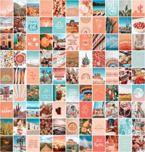 Peach Aesthetic Wall Collage Kit, 100 Set 8x10 inch, Room Decor for Teen Girls, Peachy Teal Wall Art Print, Dorm Photo Collection, Boho Posters for Room Aesthetic