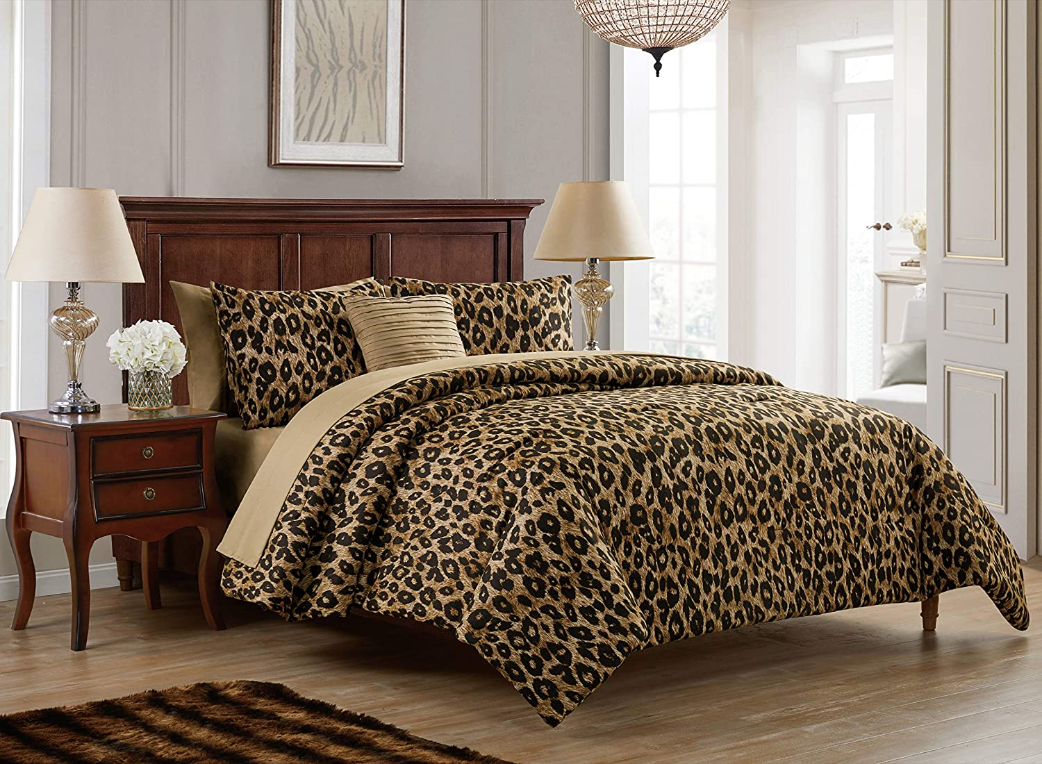 VCNY Home Cheetah Collection Comforter Soft & Cozy Bedding Set, Stylish Chic Design for Home Décor, Machine Washable, Twin XL, Brown