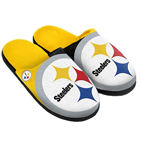 bba2045556df Image Unavailable. Image not available for. Color  Pittsburgh Steelers  Split Color Slide Slipper Medium