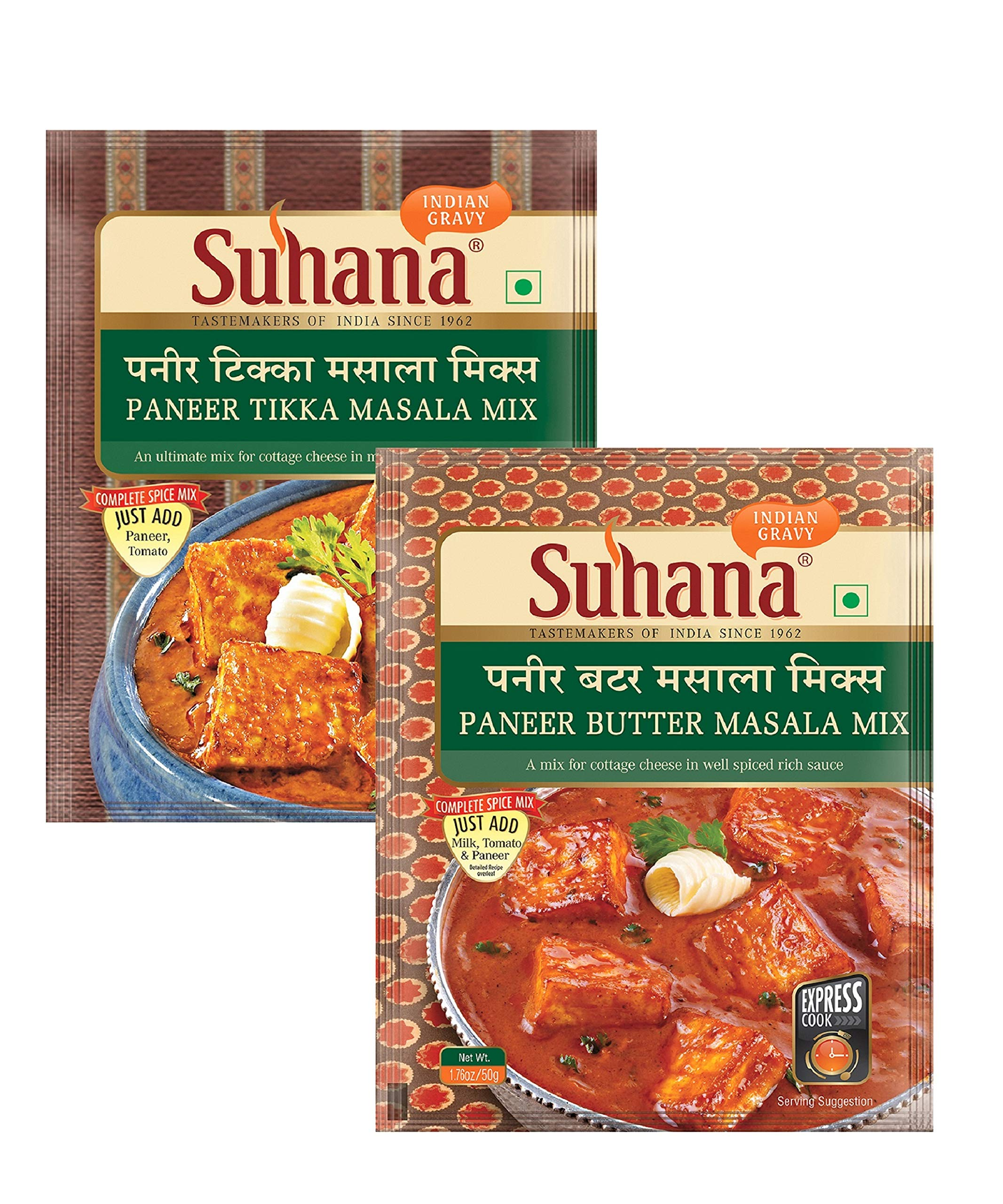 Suhana Paneer Butter 50g x 4, Paneer Tikka 50g x 4 - Combo of 8 | Easy to Cook | Spice Mix