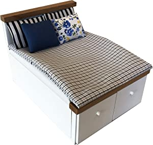 Inusitus Wooden Dollhouse Queen Bed - Dolls House Furniture Queen Bed with Bedding and Drawers - 1/12 Scale (White Style 2)