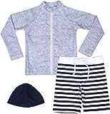 【Asbrio】水着 男の子 UPF50+ ボーダー柄パンツ グレーラッシュガード 帽子 90〜140cm (90)