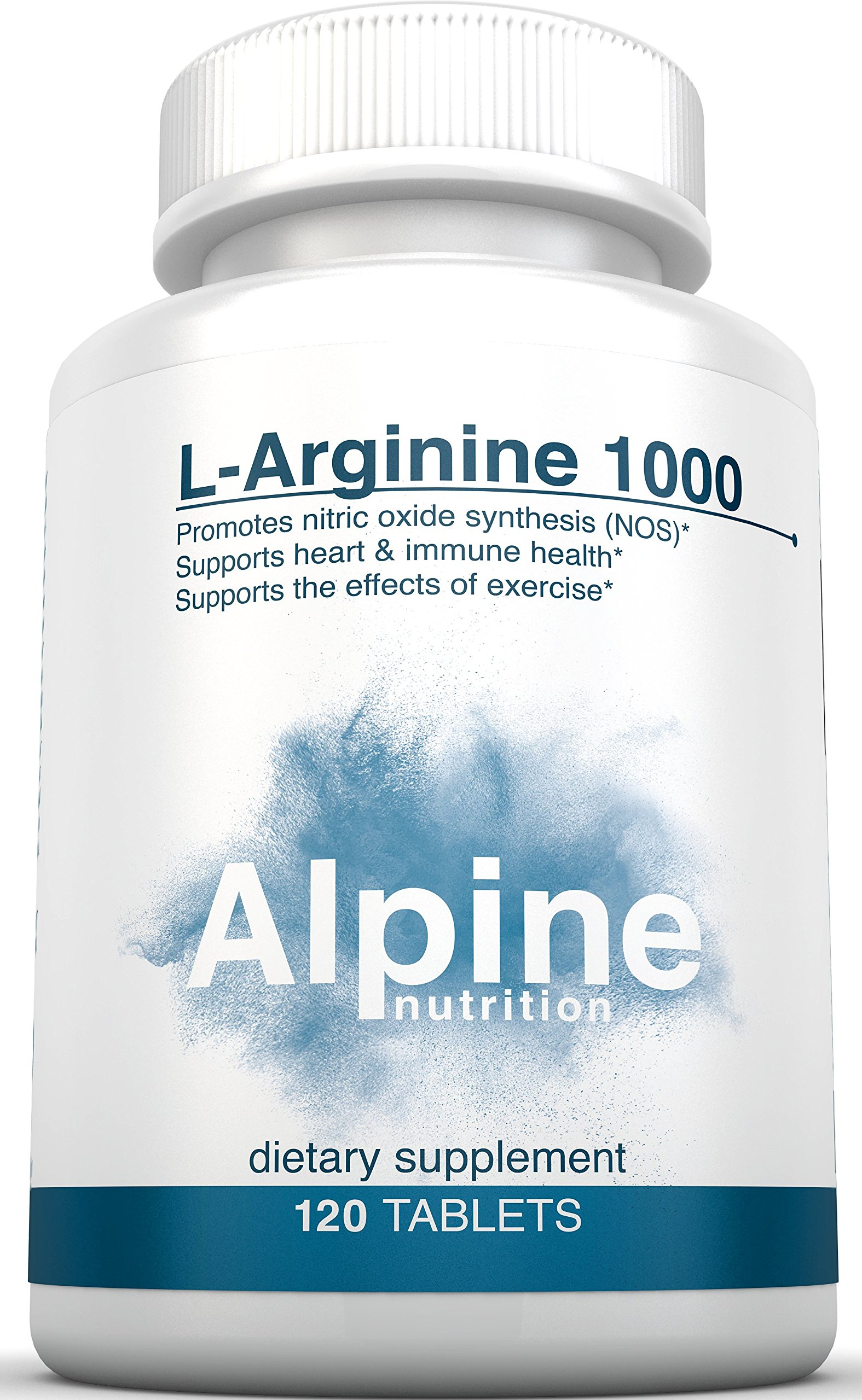 Alpine Nutrition L-Arginine 1000mg Tablets - NOS Nitric Oxide - 120 Tablets