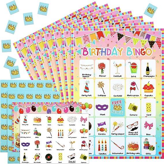 Gejoy 47 Piezas Tarjetas de Juego de Bingo de Cumpleaños 24 Jugadores con Tarjetas de Rcompensa para Suministros de Juegos de Fiesta de Cumpleaños Niños: Amazon.es: Juguetes y juegos