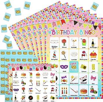 Gejoy 47 Pieces Jeu De Bingo D Anniversaire Cartes De Jeu 24 Joueurs Avec Des Cartes De Recompense Pour Enfants Fournitures De Jeu De Fete D Anniversaire Amazon Fr Jeux Et Jouets