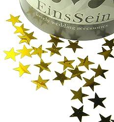EinsSein 14g Streudeko Konfetti Hochzeit Stern klein Gold metallisch Tischdeko Party Weihnachten