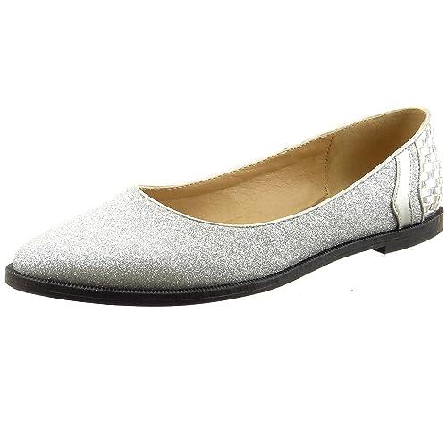 Sopily - Zapatillas de Moda Mocasines Bailarinas Tobillo mujer líneas brillante Talón Tacón ancho 1 CM - Plata FRF-6-LX103 T 41: Amazon.es: Zapatos y ...