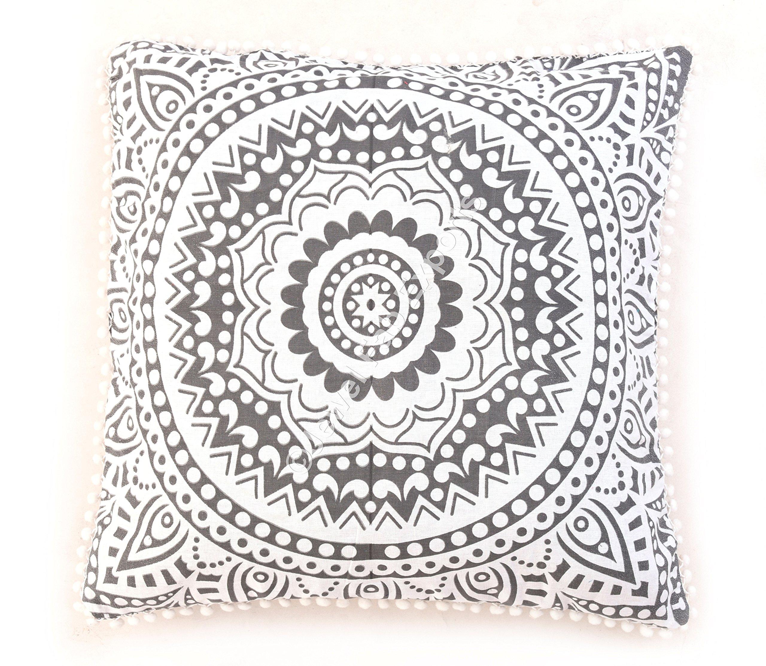 Indian Wholesale 10 Piece Mandala Cushion Cover ,Boho Throw ,Gray Ombre Mandala Cushion Covers ,large Euro Pillow Sham, Boho Pillow Cases , Square Pillows Ethnic Cotton Home Decor Cushions